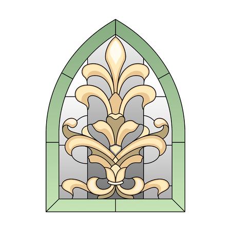 stile liberty: lancetta vetrata in stile barocco Vettoriali