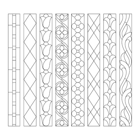 church interior: patterns of decorative elements for the stained glass windows