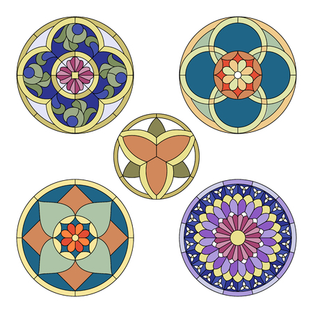 Round elements for a classic stained glass Vettoriali