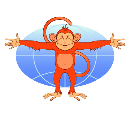 Red monkey on a background of the planet Earth