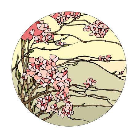 vidro: janela de vitral com flores de sakura rosa Ilustração