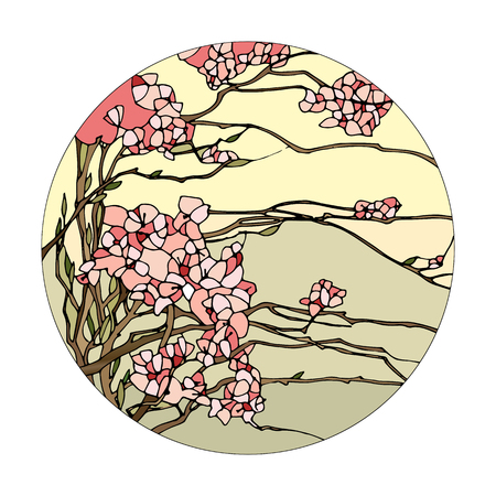 Stained glass window with pink sakura blossoms
