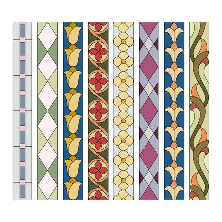 Muster von dekorativen Elementen für die Buntglas Grenzen Standard-Bild - 51273431