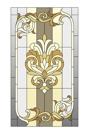 art nouveau design: Stained glass window in the Baroque style