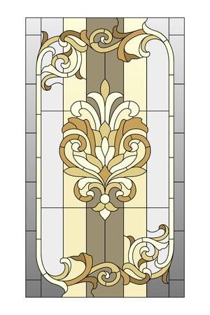 stile liberty: Vetrata in stile barocco Vettoriali