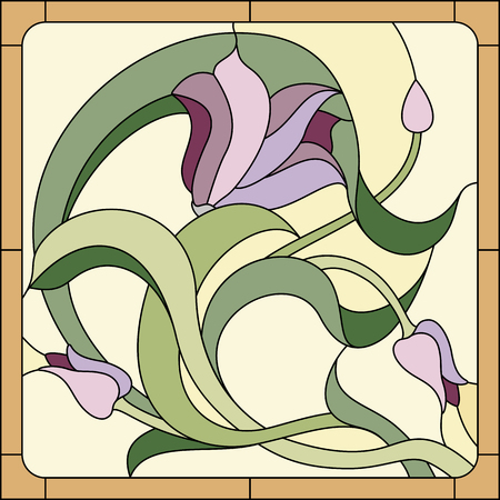 Stained glass window with purple floral pattern