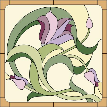 Vitrail avec motif floral violet Banque d'images - 51273440