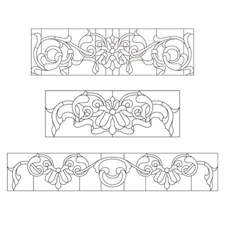 Glas in lood patronen in de barokke stijl Vector Illustratie