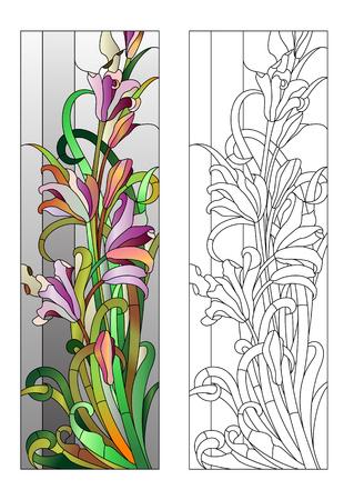 Glas in lood raam met paarse bloemmotief Stock Illustratie