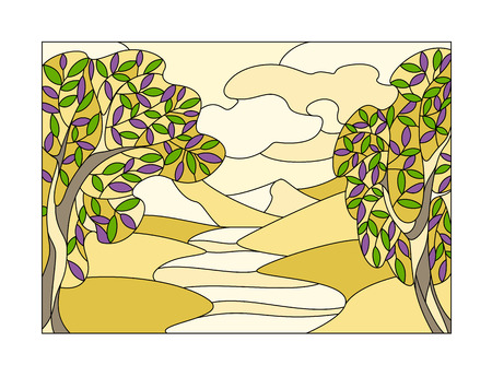 Stained glass window with a stylized landscape Çizim