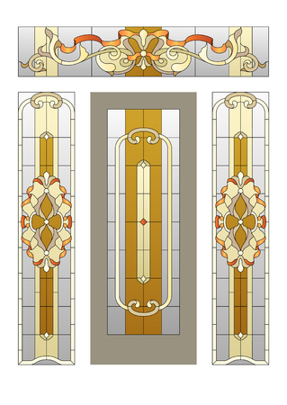 Porte avec un vitrail dans le style baroque Banque d'images - 51304092