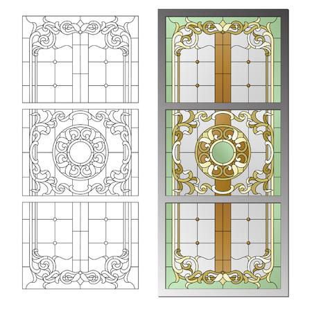 バロック様式のステンド グラス シーリング ランプ  イラスト・ベクター素材