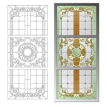 glass ceiling: Stained glass ceiling lamp in the Baroque style