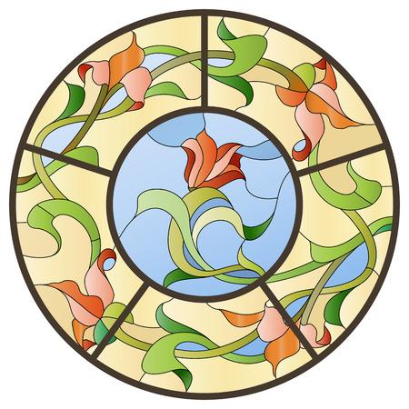 Buntglasdeckenleuchte mit Blumenmuster. Vektorgrafik