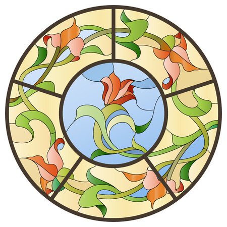 art nouveau design: Stained glass ceiling lamp with floral pattern.
