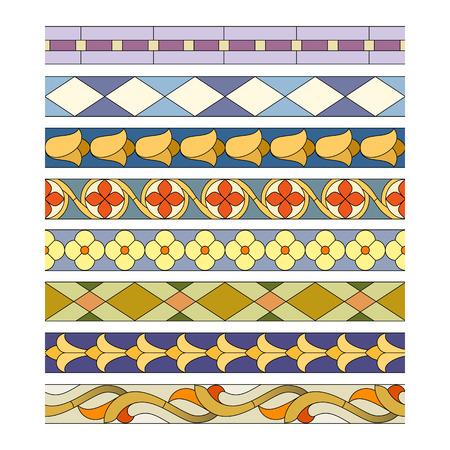 Muster von dekorativen Elementen für die Buntglas Grenzen Standard-Bild - 51333930