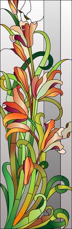 赤い花を持つステンド グラス花柄  イラスト・ベクター素材