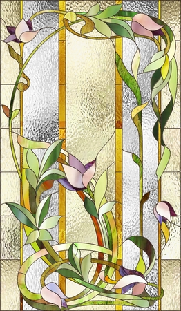 art nouveau design: Stained glass window with purple floral pattern