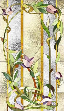 anteojos: vidriera con estampado de flores púrpura Foto de archivo