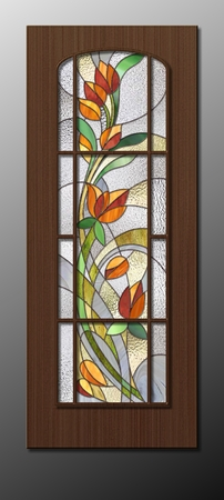 Stained glass inserts in the doors, stylized tulips