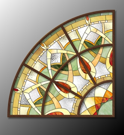 glass modern: Stained glass in the ceiling lamps, Ornamental segment Stock Photo