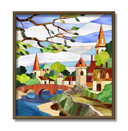bridge over water: Stained glass window landscape with river and houses Stock Photo