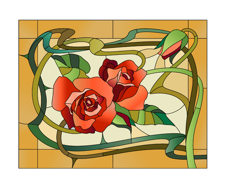 Decorative stained glass panel with red roses