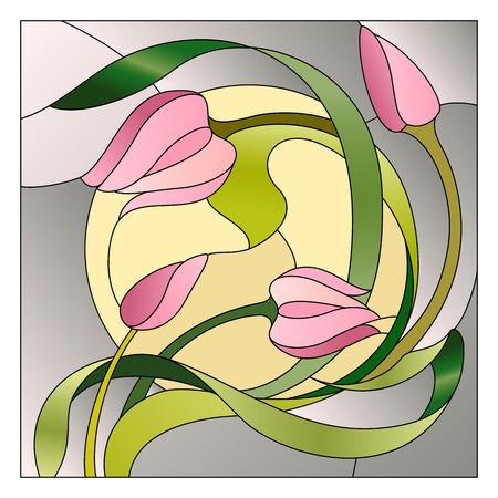 stile liberty: Stained plafoniera in vetro con motivo floreale. Vettoriali