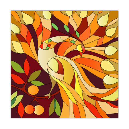 Stained glass pattern with fire-bird sitting on a branch with rejuvenating apples