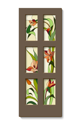 stained glass inserts with red gladioli in the door