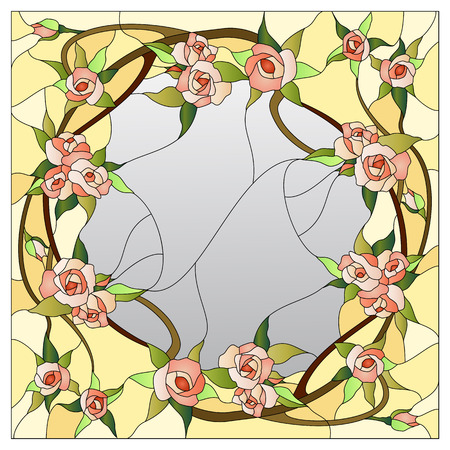 floral stained glass pattern with rose bushes