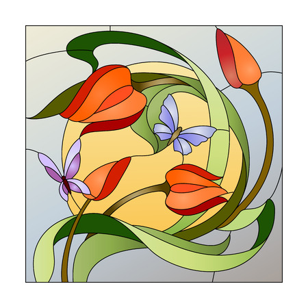 Stained glass pattern with red flowers and butterflies