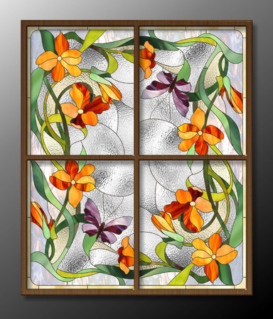 florescence: Stained glass pattern with red flowers and butterflies