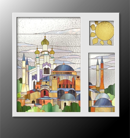 glasswork: stained glass window with the Muslim and Orthodox tamples