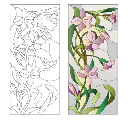 Glas in lood raam met paarse bloemmotief