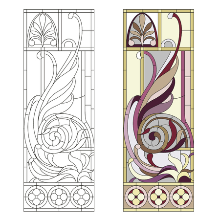art nouveau vintage: Stained glass window in the style of historicism Illustration
