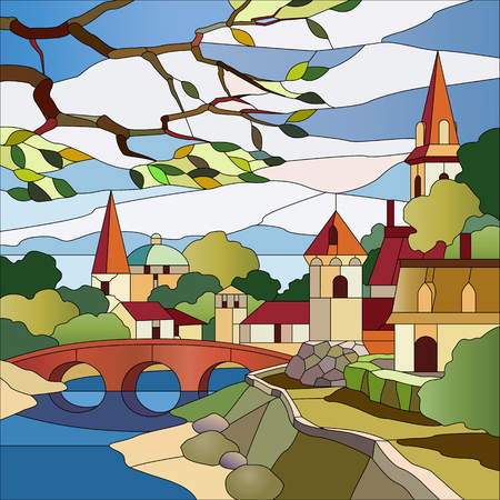 water stained: Stained glass window landscape with river and houses Illustration