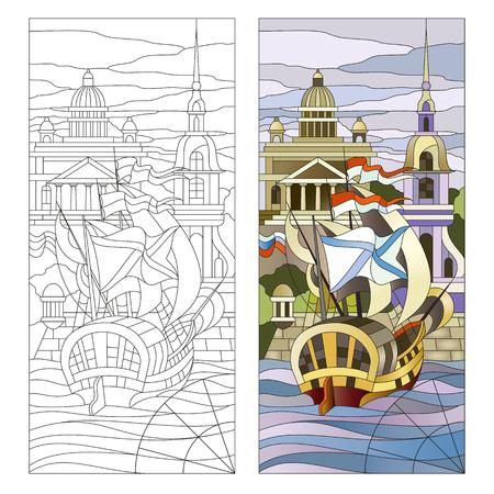 Glas in lood panelen met schip op de achtergrond van St. Petersburg