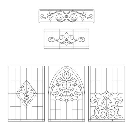 Lments décoratifs pour les vitraux dans le style classique Banque d'images - 60006016
