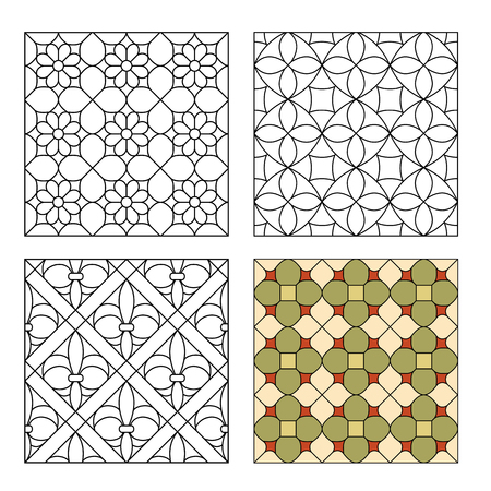 Variants of decorative lattices for stained glass Vettoriali