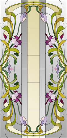 stained glass ceiling with purple floral pattern
