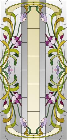 Teinté plafond de verre avec motif floral pourpre Banque d'images - 60006020