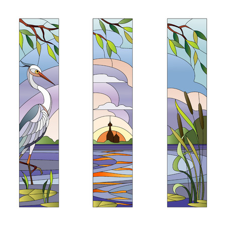 Paysage avec héron sur un fond de lac et le moulin Banque d'images - 60006022