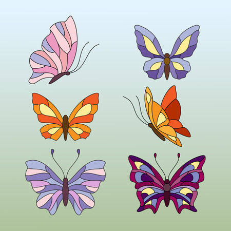 different types of butterfly, elements for stained glass