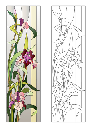 floral pattern for stained-glass window with blooming irises