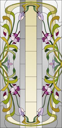 Teinté plafond de verre avec motif floral pourpre Banque d'images - 60006029