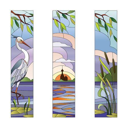 Landschaft mit Reiher auf dem Hintergrund der See und Mühle Standard-Bild - 60006027