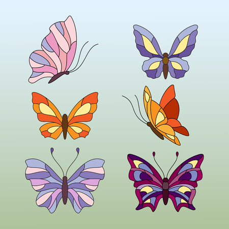 mariposa: diferentes tipos de mariposas, elementos para vidrieras Foto de archivo