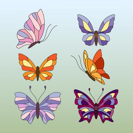 Différents types de papillons, des éléments pour le vitrail Banque d'images - 60006026
