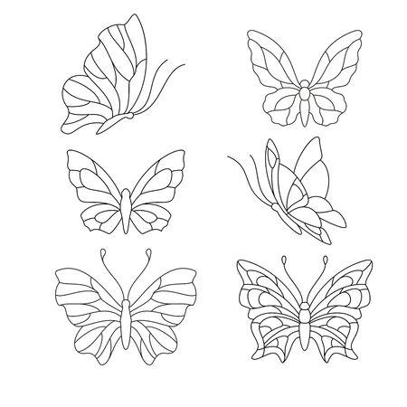 Différents types de papillons, des éléments pour le vitrail Banque d'images - 60006030